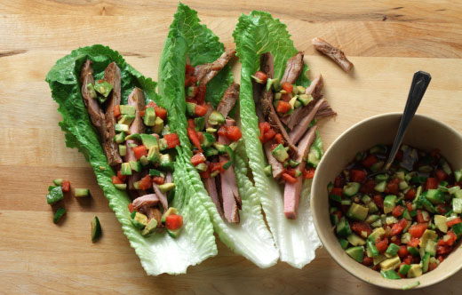 Pork Lettuce Boats with Watermelon Salsa