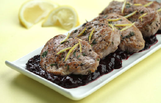 Pork Medallions with Blueberry Pan Sauce